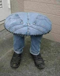 Think you're creative? Check out these repurposed blue jean Man Cave Stools…