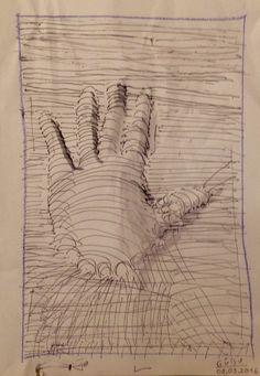 Hand aus Linien - Mischtechnik - Gülsu