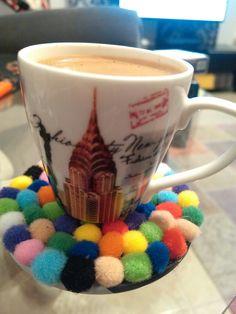 Turkish coffee ponpon lu altlik