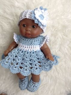 Crocheted Set Clothes for 5 inch Berenguer Itty Bitty OOAK Cup Cake Doll | eBay