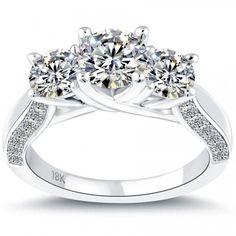 3.02 Carat F-SI1 Three Stone Natural Diamond Engagement Ring 18k White Gold - Liori Exclusive Engagement Rings - Engagement - Lioridiamonds.com