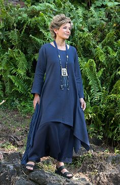 Pure linen vibrant blue Elke Tunic with flared sleeves Dark blue linen sarouel skirt