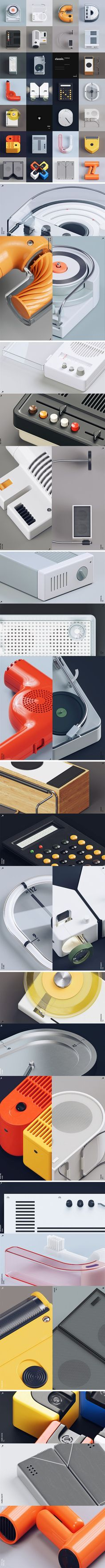 Designer Gao Yang decided to pay homage to Braun's legacy in the form of type! Taking real products from Braun's vast catalog, Gao made small alterations to them (you can see which products he took by zooming into the close-up renders), maintaining their Braun-ness but turning products into characters… which works pretty well because Braun's products do have character.
