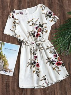 Fabric: Fabric has no stretch Season: Summer Pattern Type: Floral Color: White Sleeve Length: Short Sleeve Material: Polyester Neckline: Round Neck Style: Casual, Vacation Shoulder(Cm): S:38cm, M:39cm, L:40cm, XL:41cm Sleeve Length(Cm): S:17cm, M:18cm, L:19cm, XL:20cm Waist Size(Cm): S:66-92cm, M:70-96cm, L:74-100cm, XL:78-104cm Thigh(Cm): S:64cm, M:66cm, L:68cm, XL:70cm Hip Size(Cm): S:100cm, M:104cm, L:108cm, XL:112cm Length(Cm): S:77cm, M:78cm, L:79cm, XL:80cm Size Available: S,M,L,XL…
