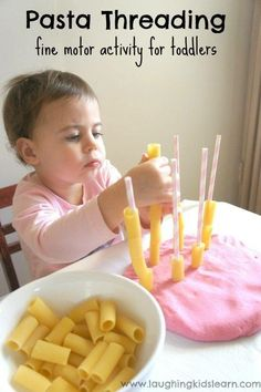 Pasta Threading - a fine motor activity for toddlers Simple pasta threading activity for toddlers to do using play dough and straws. Great for fine motor development and hand/eye coordination. Lots of fun too. Montessori Toddler, Montessori Activities, Toddler Play, Infant Activities, Toddler Crafts, Toddler Games, Activities For 2 Year Olds Indoor, Sensory Activities For Toddlers, Baby Learning Activities