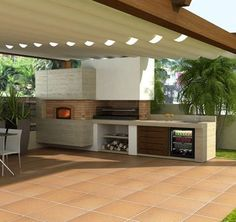 Get our best ideas for outdoor kitchens, including charming outdoor kitchen decor, backyard decorating ideas, and pictures of outdoor kitchen. Inspired by these amazing and innovative outdoor kitchen design ideas. Modern Outdoor Kitchen, Outdoor Kitchen Bars, Outdoor Living, Outdoor Kitchens, Backyard Kitchen, Modern Farmhouse, Küchen Design, House Design, Design Ideas