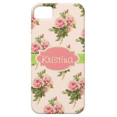Elegant Vintage Floral Rose Name Case iPhone 5 Cover - girl style