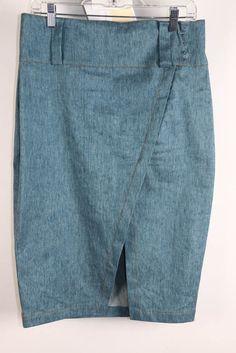 NWT Derek Lam 10 Crosby Light Blue Denim Asymmetrical Hem Pencil Skirt 10 #DerekLam10Crosby #StraightPencil #Career