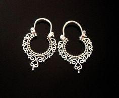 cool Wife gift,ethnic hoops,gipsy earrings,gipsy hoops,bali earrings,silver earrings,silver hoops,small hoops,bohemian jewelry,bohemian earrings