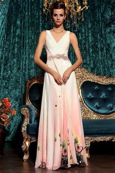 2013 Prom Dresses Fast Delivery A Line V Neck Chiffon Floor Length 30776#