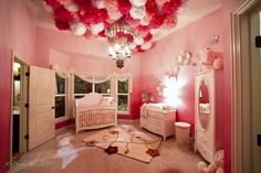 Baby Girl Nursery Bedroom built and designed by Perrino Builders & Remodeling. www.perrinobuilders.com and Furnished by Perrino Furniture www.perrinofurniture.com  Pink Walls | Hot Air Balloon Chandelier | White Furniture