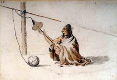Filando la Lana. Una donna songhees lavora ad un fuso per filare la lana grezza di un cane. Questo acquarello fu usato per il dipinto a olio 'Interno di una Loggia dei Coast Salish'.