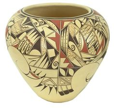 OH MY this is incredible!!!! Hopi Pottery- Joffern Puffer. Cream base with brown and black pattern decoration.