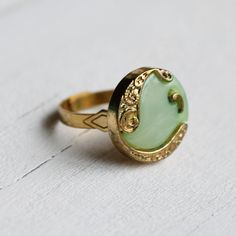 Nouveau Seafoam Ring via SilkPurseSowsEar on Etsy