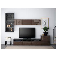 BESTÅ TV storage combination/glass doors - black-brown/Selsviken high gloss/brown clear glass, drawer runner, push-open - IKEA
