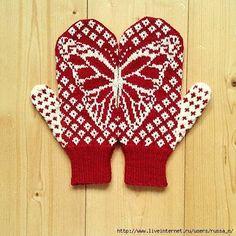 "Мобильный LiveInternet варежки ""Butterfly Wish Mittens"" by Emily Bujold спицами. схема жаккарда | сини4ка - Дневник сини4ка |"