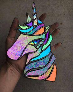"""Etsy Elite on Instagram: """"Sharing Magical Unicorns! @goldfeverglass 😍😍😍"""" Unicorn Brush, Real Unicorn, Unicorn Art, Unicorn Gifts, Magical Unicorn, Stained Glass Crafts, Stained Glass Patterns, Ivana, Rainbow Photo"""