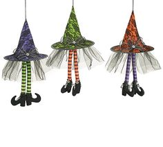 Hanging Halloween Witch Hats - With Love Home Decor