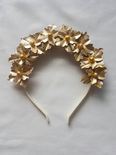 Gorgeous metallic gold flower crown / fascinator by scarletandred on Etsy
