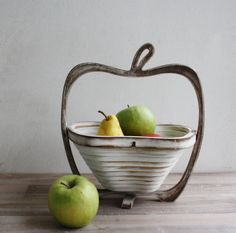 Wooden Fruit Basket Rustic Shabby Country Style by CozyHomeStore, $28.00