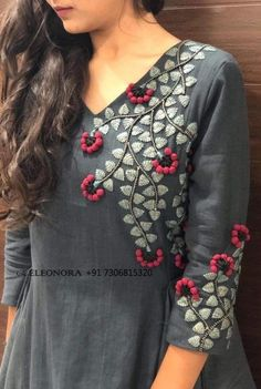 embroidery designs ~ embroidery _ embroidery patterns _ embroidery designs _ embroidery inspiration _ embroidery for beginners _ embroidery blouse designs _ embroidery stitches _ embroider Embroidery On Kurtis, Hand Embroidery Dress, Kurti Embroidery Design, Embroidery On Clothes, Embroidered Clothes, Embroidery Fashion, Embroidered Kurti, Machine Embroidery, Phulkari Embroidery