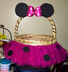 Medium minnie mouse inspired themed tutu basket birthday tutu gift minnie mouse easter basket negle Image collections