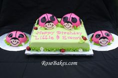 Oh So Sweet Ladybug Cake and Smash Cakes for Twin Girls 1st Birthday Party.  Click for lots more pics!