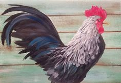 Rooster Acrylic Painting Tutorial on YouTube by Angela Anderson #yearoftherooster #rooster #chinesenewyear