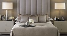 soft shimmering neutral, luxury bedroom, high upholstered headboard    Timeless Neutrals collection at LuxDeco.com