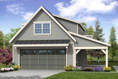 Craftsman Plan: 838 Square Feet, 1 Bathroom - 035-00857 2 Car Garage Plans, Garage Plans With Loft, Garage Apartment Plans, Garage Apartments, Garage Ideas, Garage Workshop Plans, Basement Plans, Basement Stairs, Detached Garage Designs