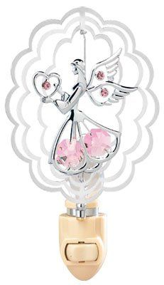 Angel Holding Heart In Scalloped Oval Night Light With Pink Swarovski Austrian Crystals *** You can find more details by visiting the image link.