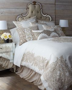 "Duvet cover made of linen with a contemporized Victorian lace pattern. Dry clean. 92"" x 96"". Imported."