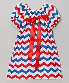 Love this Red & Blue Chevron Cap-Sleeve Dress - Infant, Toddler & Girls by Royal Gem on #zulily! #zulilyfinds