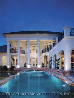 """Rear Elevation of Sater Design's """"Camellia Manor"""" Home Plan. #outdoorliving #luxuryhomeplans #pool"""