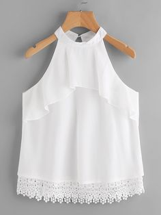 Shop Layered Frill Crochet Hem Keyhole Back Halter Top online. SheIn offers Layered Frill Crochet Hem Keyhole Back Halter Top & more to fit your fashionable needs. Little Girl Outfits, Kids Outfits, Cute Outfits, Blouse Styles, Blouse Designs, Baby Dress Design, Kids Fashion, Fashion Outfits, Crop Top Outfits