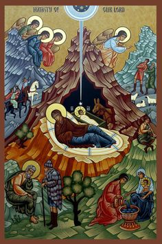 Orthodox icon, the Nativity    looking ever so much like aliens with space helmets