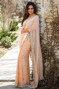 Slim Pallu half n half saree. Silver Glass bead and crystals on border. All over beaded sleeveless blouse. Tassels adorn back of the blouse. India Fashion, Ethnic Fashion, Asian Fashion, Ethnic Outfits, Indian Outfits, Indian Clothes, Indian Attire, Indian Wear, Beautiful Saree