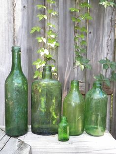 Lot Of Vintage Green Glass Bottles - Set Of 5 - Mixed - Weathered - Nature Made…