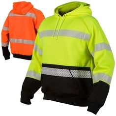 Made from a high quality heavyweight polyester, the ML Kishigo Pullover Hoodie is specially designed with black accents to hide dirt and wear for a cleaner look. This style is carried over to the rib-knit cuffs and waist for a continuous sleek look. Orange Vests, Rain Jacket, Bomber Jacket, Hooded Sweatshirts, Hoodies, Body Warmer, Outdoor Wear, Black Series, Sleek Look