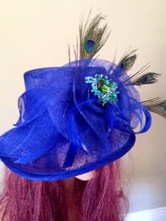 Cobalt Blue Turquoise Hat  Kentucky Derby by jeniferbuckley, $99.00