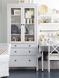 Where Do You Store Your Dishes? – The Inspired Room Hemnes 3 Drawer Cabinet from… Where Do You Store Your Dishes? – The Inspired Room Hemnes 3 Drawer Cabinet from Ikea Interior – Dining Room Ikea Hemnes Cabinet, Ikea Storage Cabinets, Kitchen Storage, Tv Cabinets, Ikea China Cabinet, Ikea Kallax, Office Storage, Home Decor Furniture, Furniture Decor