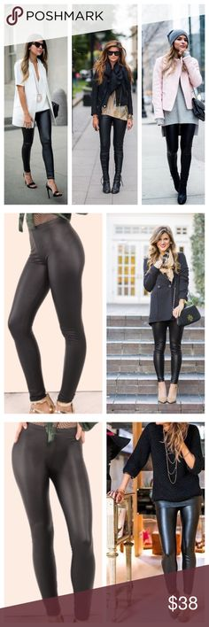 NWT Faux Leather Leggings A high rise and skinny silhouette lend a polished feel to these sleek faux leather leggings. Fits true to size, order your normal size. Elasticized waistband, skinny silhouette, faux leather, pull-on style.                              Waist Size(cm) : S:56cm, M:61cm, L:66cm Color : Black K Too Pants Leggings