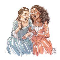 Eliza and Angelica Schuyler! Three Hamilton drawings in three days. I am officially Ham Trash :D