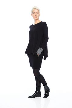 Angela Trapeze Pullover in a cashmere blend in black from look book - Kelley Derrett Fall Winter 2014, Sustainable Fashion, Knitwear, Cashmere, Pullover, Clothes For Women, Book, Fashion Design, Collection