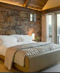 Stone Bedroom | Stone wall bedroom