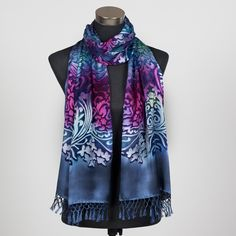 'Midnight Dream', beautiful silk scarf hand painted by Marlyse Carroll