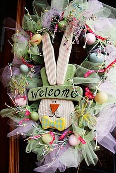 wreath ...I think I saw some cute inexpensive rabbit hangers that would go in place of this bunny..will have to check it out