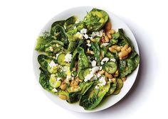lunch bowl: little gem lettuce, white beans, feta, cucumber, fresh dill, almonds, lemony vinaigrette