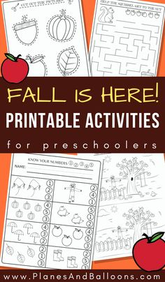 Preschool worksheets and activities for fall FREE printable PDF Fun free printable Fall activities for a preschool fall theme. Fun math and literacy activities perfect for your fall lesson plans. Preschool Learning Activities, Preschool Printables, Preschool Worksheets, Fall Activities For Toddlers, Printable Worksheets, Halloween Preschool Activities, Preschool Fall Crafts, October Preschool Themes, Free Preschool