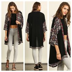 RESTOCK in one of your favorite Fall kimonos {Tassel Trim Kimono $41}    Comment below with PayPal to purchase and ship or comment for 24 hour hold  #repurposeboutique#loverepurpose#hipandtrendy#shoprepurpose#boutiquelove#style#trendy#fall#kimono